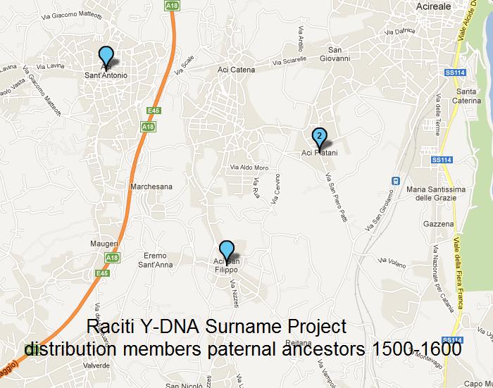 Raciti Background Family Tree DNA - Dancestral origins us map